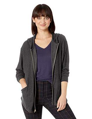 Michael Stars Women's Madison Brushed Jersey Long Sleeve Zip Up Poncho