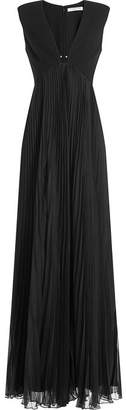Halston Gown with Pleated Skirt and Embellishment