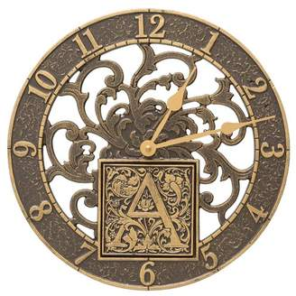 """Whitehall Products Silhouette Monogram 12"""" Personalized Indoor/Outdoor Wall Clock"""