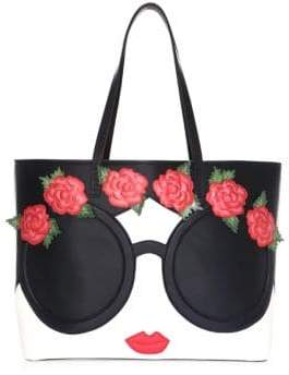 Alice + Olivia Missy Embellished Face& Flowers Tote
