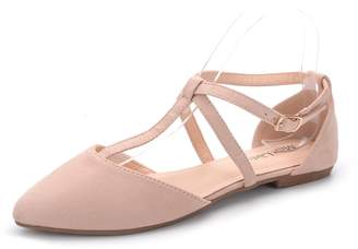 Laurèl Mila Lady New Fashion Womens Pointed Toe Ankle Wrap T-Strap D'Orsay Flats