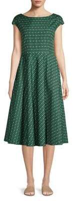 Max Mara Geometric Fit-&-Flare Midi Dress
