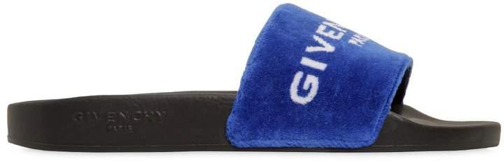 Logo Velvet Slide Sandals