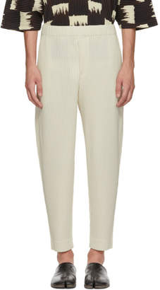 Issey Miyake Homme Plisse Ivory MC July Cropped Trousers