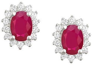 Premier 7x5mm Oval Ruby & Diamond Earrings, 14K