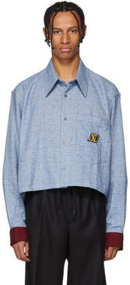 Xander Zhou Blue and White Cropped Flannel Shirt