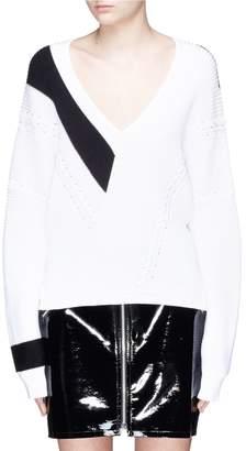 Rag & Bone 'Cricket' contrast stripe lace-up V-neck sweater