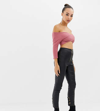 Parallel Lines faux leather pants with zipe front and tie back detail
