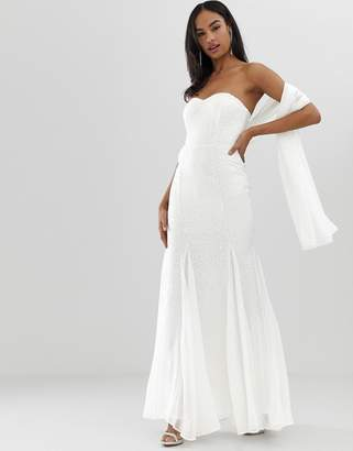 City Goddess bridal bandeau fishtail maxi dress