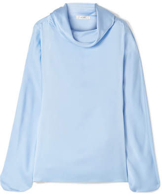 The Row Iona Oversized Silk-satin Top - Blue