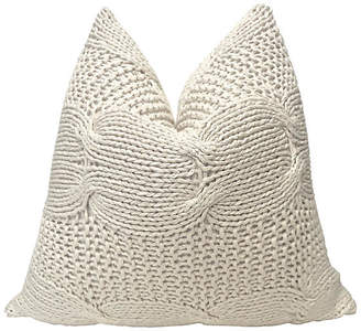 One Kings Lane Vintage Natural Cable Knit & French Linen Pillow