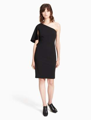 Calvin Klein one shoulder ruffle sheath dress