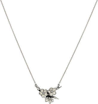 Shaun Leane Cherry Blossom silver, ivory enamel and diamond branch pendant necklace small