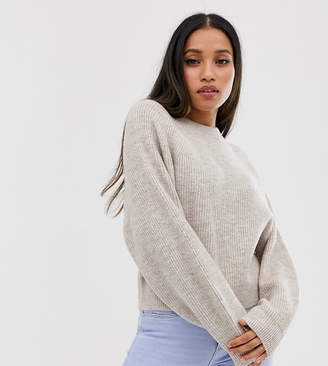 Asos DESIGN Petite fluffy jumper with balloon sleeve