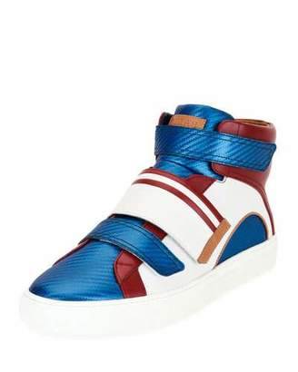 Bally Herick Leather High-Top Sneaker, American Flag $525 thestylecure.com