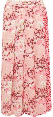 Mother of Pearl Kenzie Pleated Printed Silk-crepe Wrap Midi Skirt - Pink