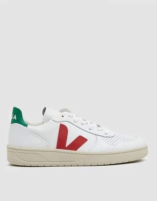 Veja V-10 Leather Sneaker in Extra White Emerald