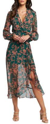 Bardot Justine Long Sleeve Floral Chiffon Dress