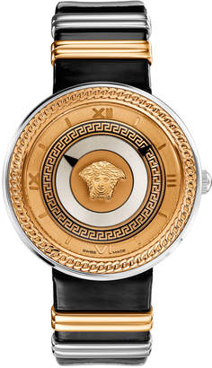 Versace 40mm V-Metal Icon Watch w\/ Leather Strap