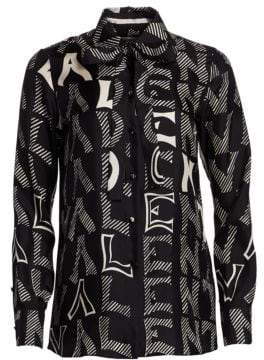 Valentino V For Printed Silk Blouse