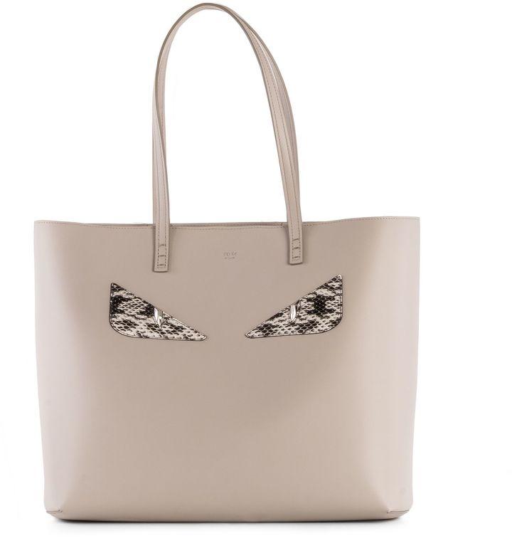 FendiFendi Light Grey Leather Shopping Bag
