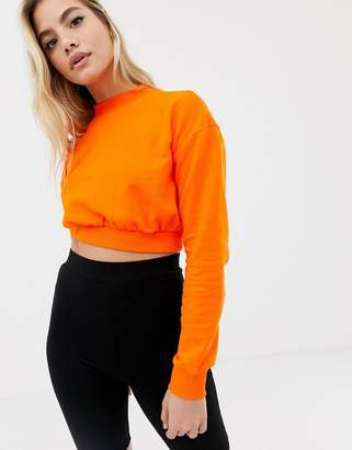 Asos Design DESIGN super crop sweatshirt in orange