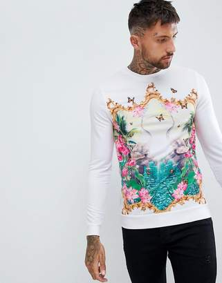 Asos DESIGN muscle sweatshirt with elephant floral print