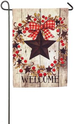 "Evergreen Welcome"" Star Indoor / Outdoor Garden Flag"