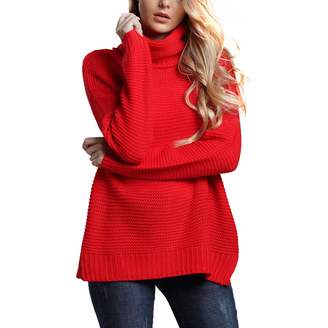 c4102dfdd749 Belgius Chunky Turtleneck Sweater Women Winter Warm Knit Solid Color Pullover  Sweater M