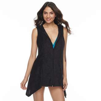 Women's Beach Scene Hooded French Terry Cover-Up