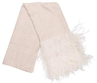 Valentino Cashmere Feather-Trimmed Scarf