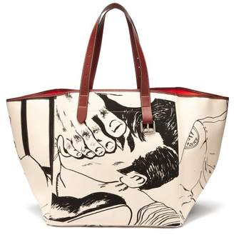 J.W.Anderson Calcio Belt Linen Tote Bag - Womens - Black White