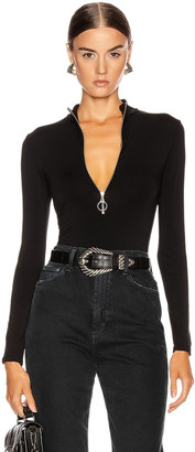 Enza Costa Italian Viscose Mock Neck Zip Bodysuit in Black   FWRD