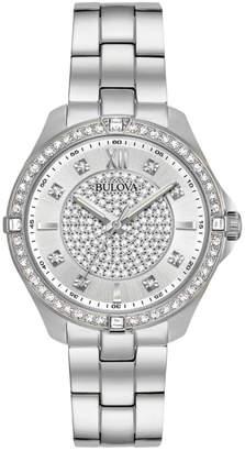 Bulova 35mm Crystal Pave Watch w/ Bracelet Strap