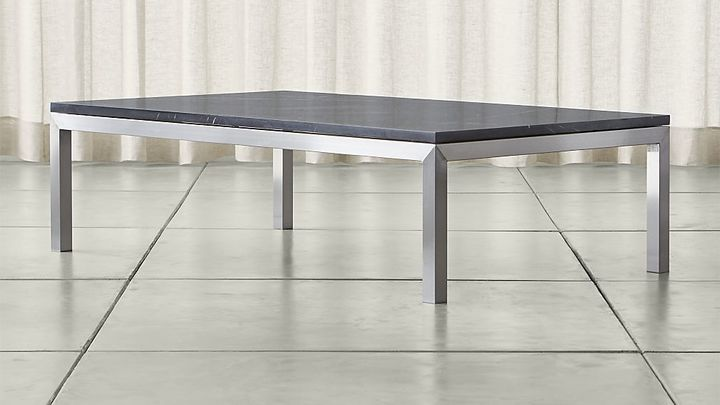 Crate & BarrelParsons Large Rectangular Stainless Steel Coffee Table with Black Marble Top