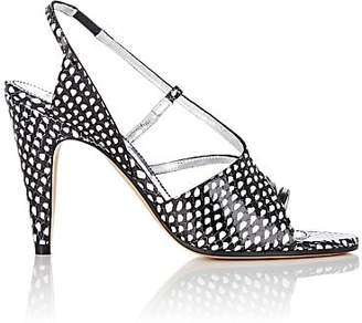 Givenchy Women's Stamped Leather Slingback Sandals - Wht.&blk.