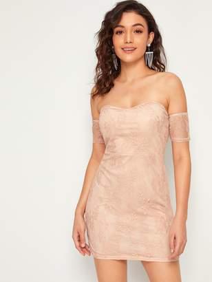 Shein Lace Overlay Bodice Bardot Bodycon Dress