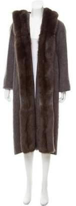 Oscar de la Renta Sable Fur-Trimmed Hooded Coat