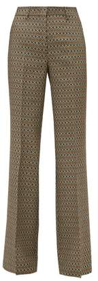 Etro Cumbria Geometric Jacquard Trousers - Womens - Beige Multi