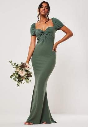 Missguided Bridesmaid Green Sweetheart Twist Fishtail Maxi Dress, Green