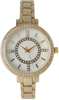 Mother of Pearl OLIVIA PRATT Olivia Pratt Womens Rhinestone Bezel Faux Rhinestone Dial Gold-Tone Bracelet Watch 14403Gold