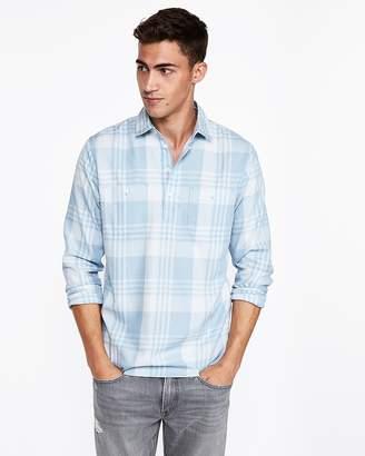 Express Slim Plaid Two Pocket Popover Shirt