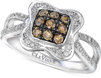 LeVian Le Vian Chocolatier® Diamond Cluster Ring (1/2 ct. t.w.) in 14k White Gold