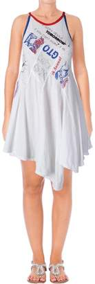 Free People Womens Printed Spaghetti Straps Casual Dress White M