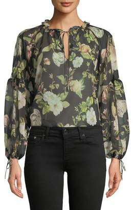 Alice + Olivia Julius Floral Silk Blouson-Sleeve Tunic Top