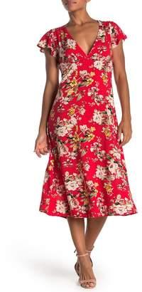 Velvet Torch Floral Midi V-Neck Dress