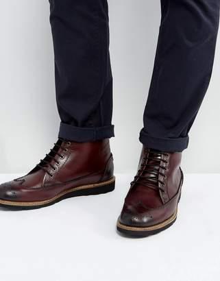 Original Penguin Creasy Brogue Boots in Bordo