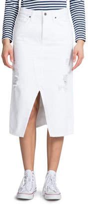 PRPS Distressed Denim Slit-Front Midi Skirt