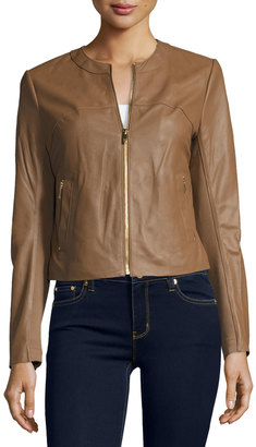Via Spiga Collarless Zip-Front Leather Jacket, Brown $295 thestylecure.com