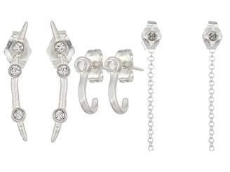 Dogeared The Perfect Ear, CZ J Bar Stud, Star and Chain Stud, Crystal Arc Stud 3 Earrings Set